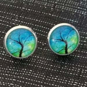Blue and green tree of life earrings